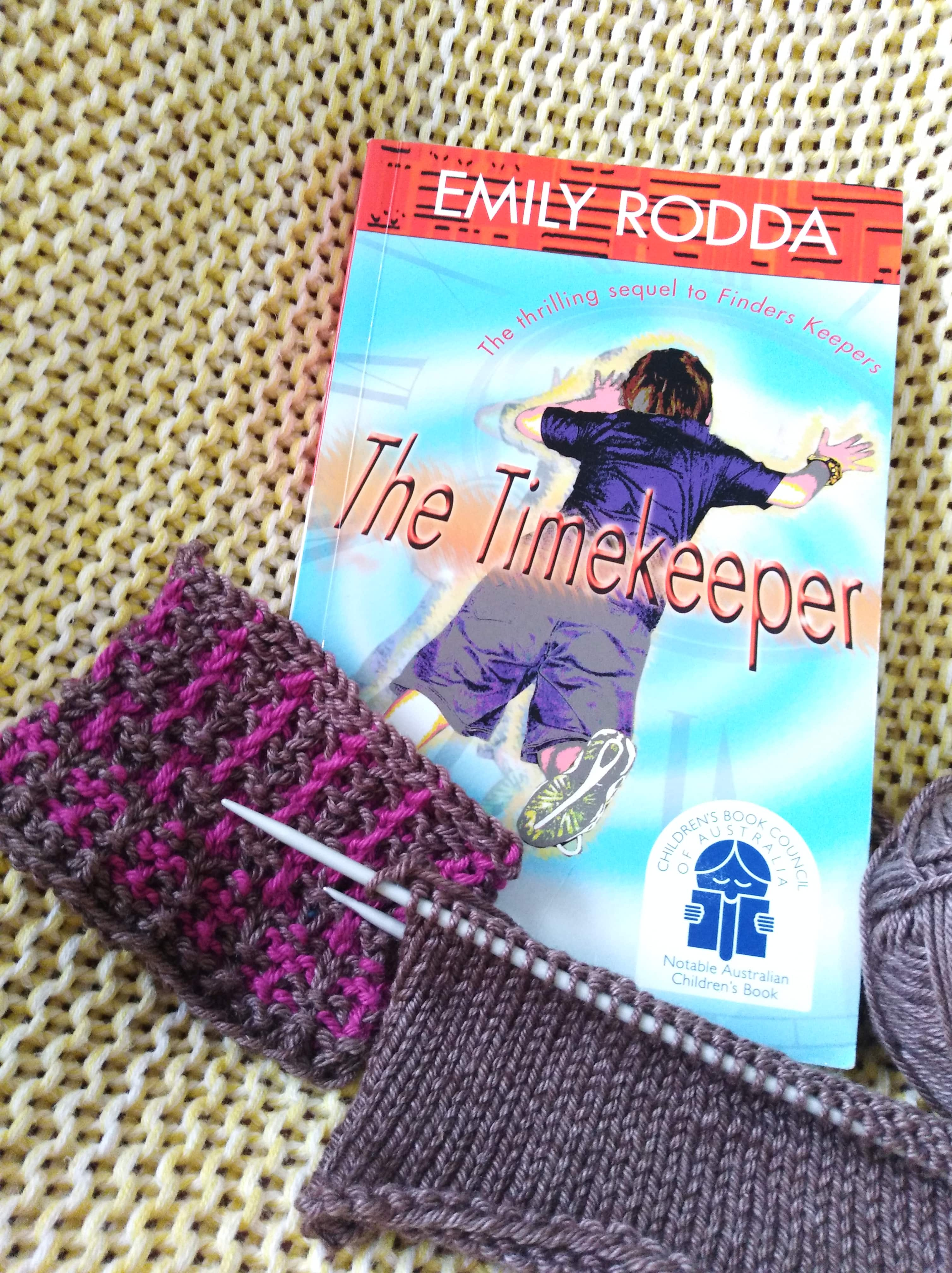 What I'm reading (The TimeKeeper by Emily Rodda) and knitting at the moment