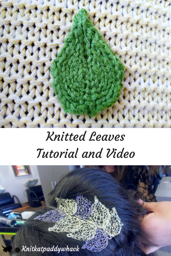 Images of knitted leaves