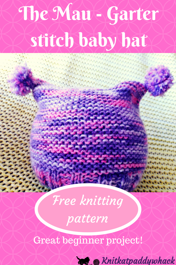 cf8231f7e54 The Mau - Square Garter Stitch Baby Hat Tutorial and Video – Free Pattern -
